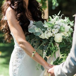 White bouquet at Cambium Farms wedding