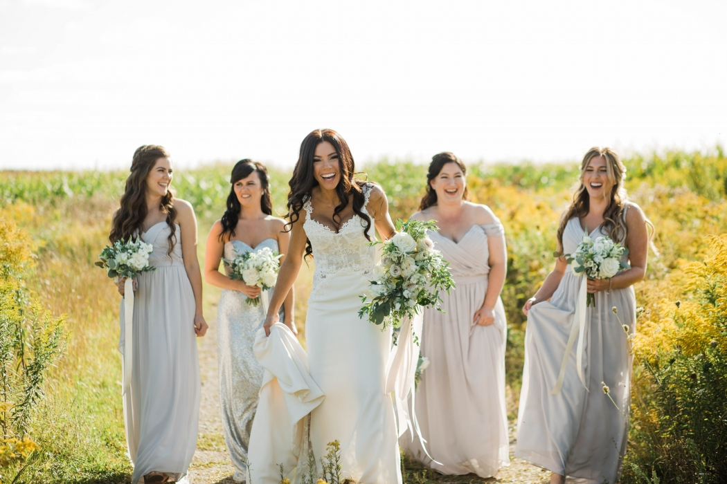 Bride and her bridesmaids, Cambium Farms}