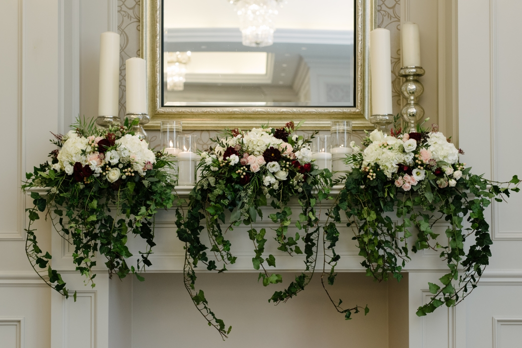 Fireplace Mantel for ceremony site, Mango Studios}