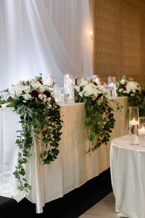 Headtable flowers, re-purposed from ceremony}