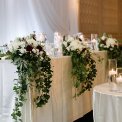 Headtable flowers, re-purposed from ceremony