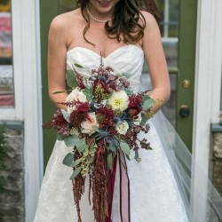 Megan Preece Photography, cranberry, marsala and ivory cascading bouquet, Private Residence