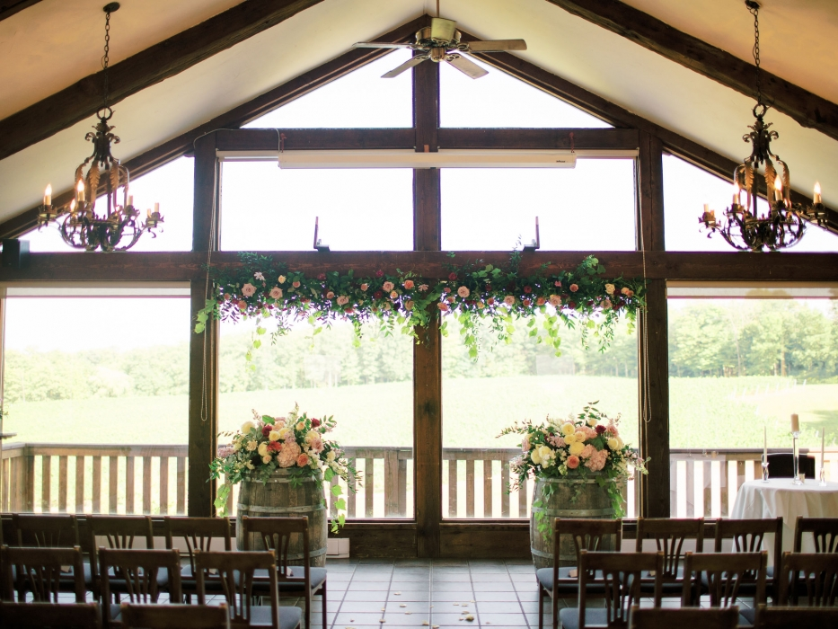 Photos by Caileigh, Vineland Estates Winery Carriage House ceremony set-up