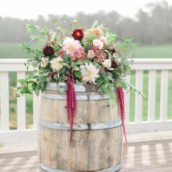 Tamara Lockwood, rustic autumn wine barrel ceremony designs at Vineland Estates Winery