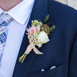 Megan Preece Photography, blush boutonniere, Vineland Estates Winery