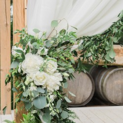 Love Always Photography, garland and floral drapery tie-backs, Honsberger Estate Winery Drapery - Simply Beautiful Decor