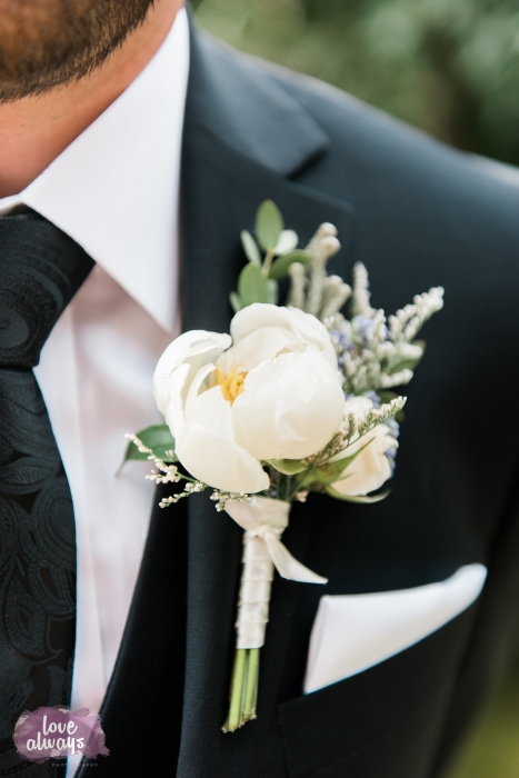 Love Always Photography, peony bud boutonniere, Honsberger Estate Winery